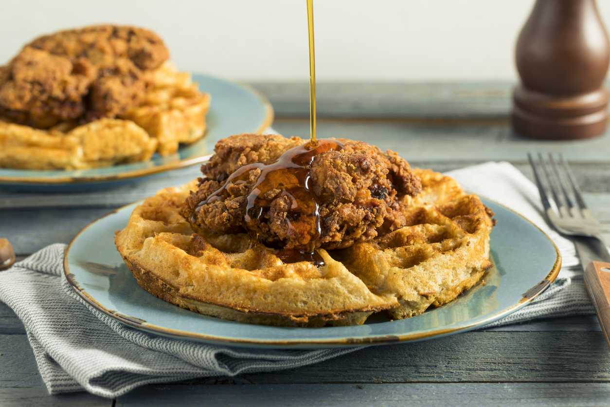 chicken and waffles on a plate