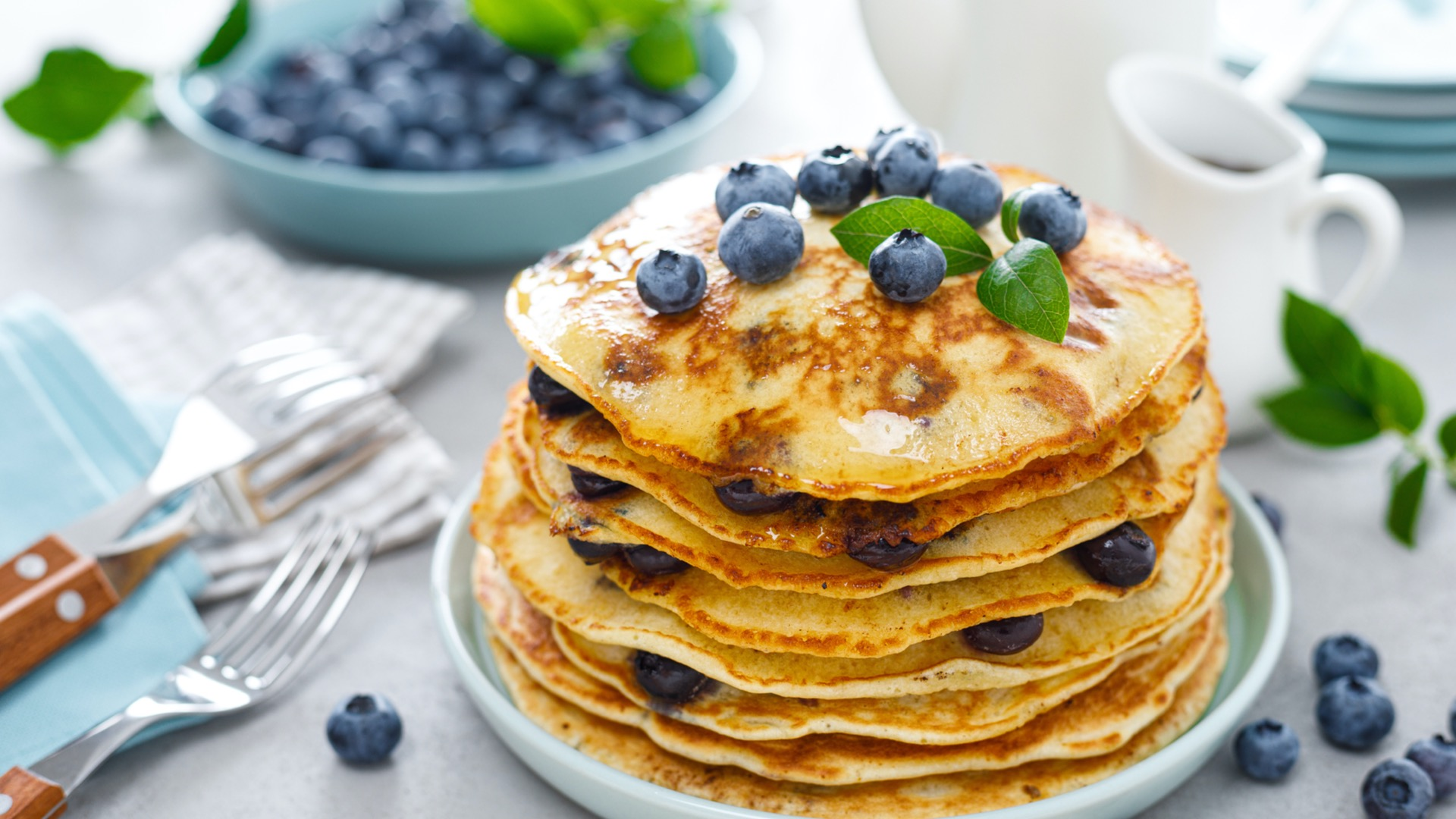 A stack of blueberry pancakes from an Ellicott City restaurant