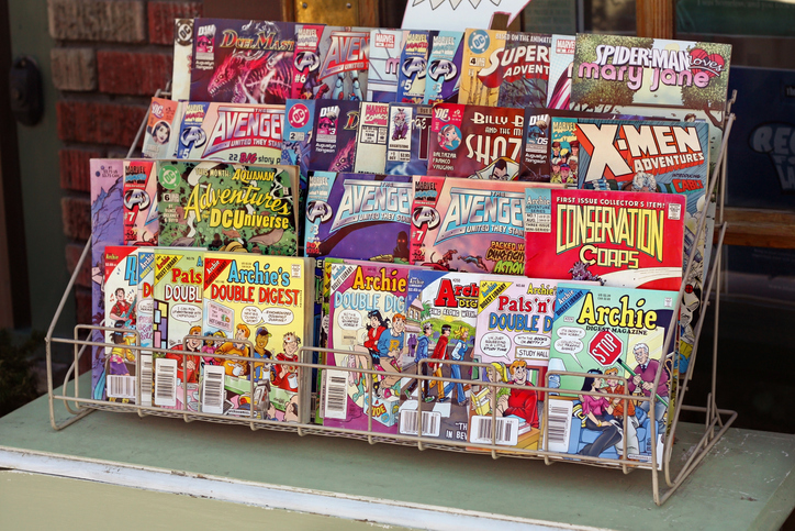 A comic book stand on display in a store - comic books stores in Ellicott City