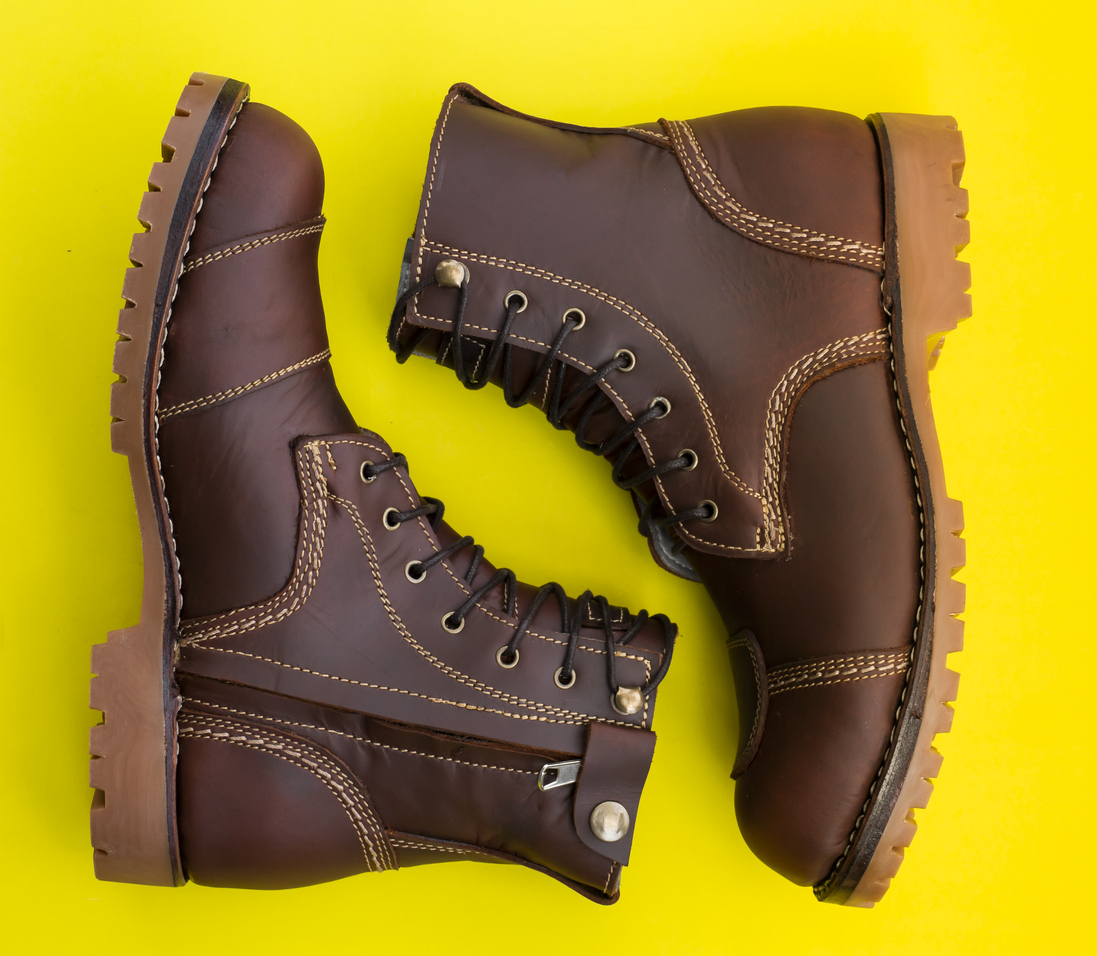 A pair of brown boots from an Ellicott City shoe store.