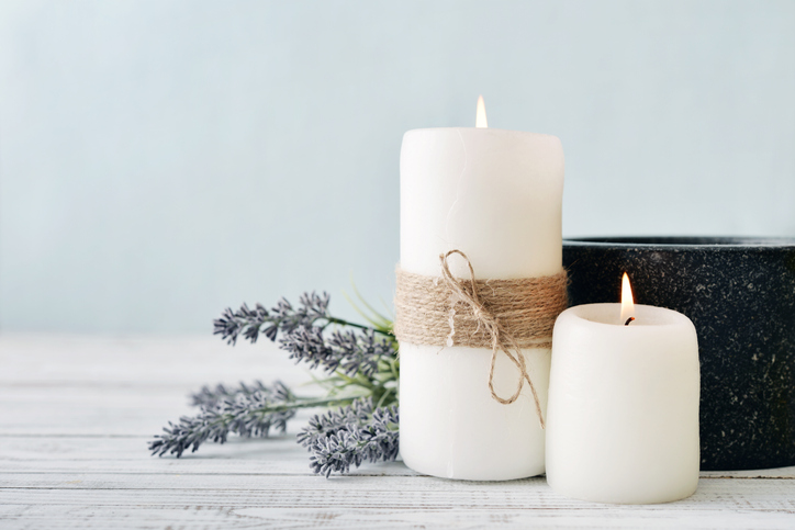 White candles with lavender on a table | Ellicott City candle shops