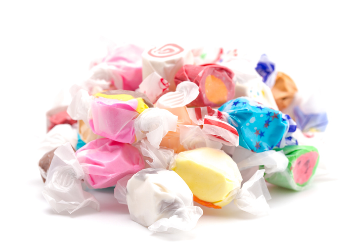 Pile of saltwater taffy in wrappers | Saltwater taffy around Ellicott City